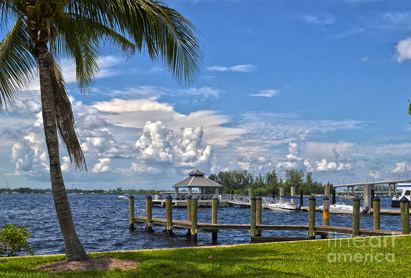 Fort Myers Art Print featuring the photograph Fort Myers Dock by Timothy Lowry