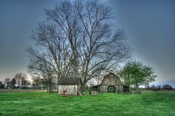 Barns Art Print featuring the digital art From Afar by Rick Ward