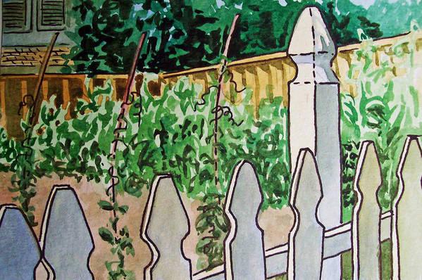 Garden Art Print featuring the painting Garden Fence Sketchbook Project Down My Street by Irina Sztukowski