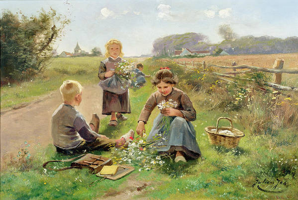 Children; Basket; Clog; Bunch; Countryside; Daisy; Fence; Satchel; Writing Board; Playing Truant Art Print featuring the painting Gathering Flowers by Joseph Julien