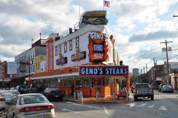 Geno's Steaks Art Print featuring the photograph Geno's Steaks - South Philadelphia by Bill Cannon