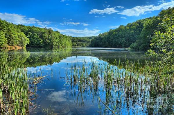 Long Branch Lake Art Print featuring the photograph Glassy Waters by Adam Jewell