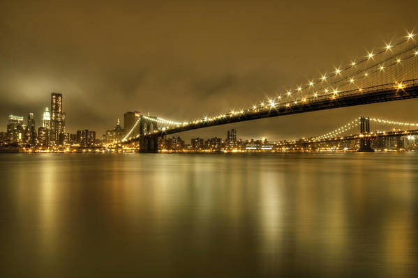 Manhattan Art Print featuring the photograph Golden Night by Evelina Kremsdorf