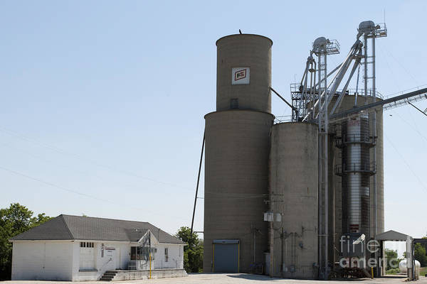 Grain Bin Art Print featuring the photograph Grain Processing Facility In Shirley Illinois 3 by Alan Look