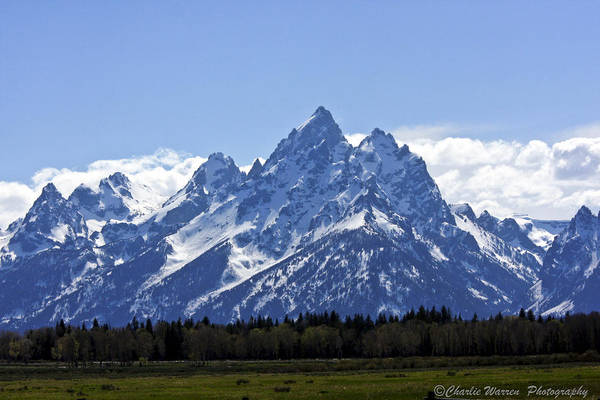 Grand Tetons Art Print featuring the photograph Grand Tetons 2 by Charles Warren