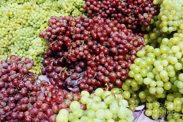 Abundance Art Print featuring the photograph Grapes At A Market Stall by Jeremy Woodhouse