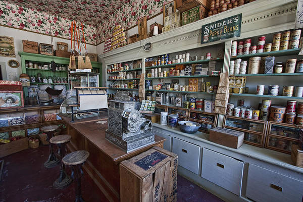 general Store Art Print featuring the photograph Grocery Store Of Yesteryear - Virginia City Montana Ghost Town by Daniel Hagerman
