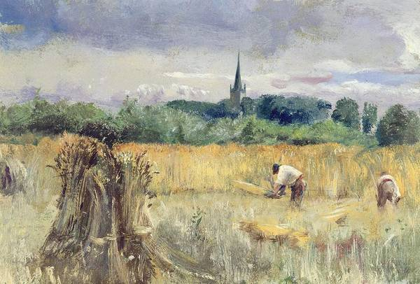 Harvest Field Art Print featuring the painting Harvest Field At Stratford Upon Avon by John William Inchbold