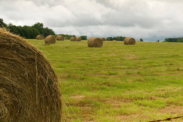 Haybales Art Print featuring the photograph Haybales In Field On Stormy Day by Douglas Barnett