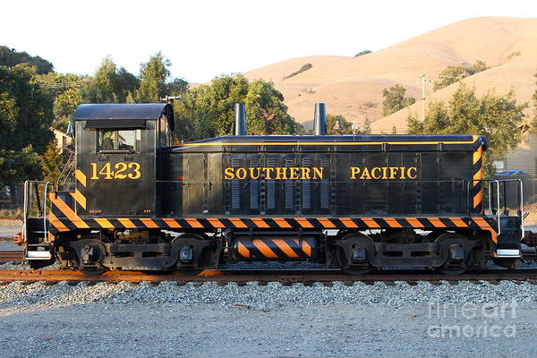 Old Southern Pacific Locomotive Art Print featuring the photograph Historic Niles Trains In California . Old Southern Pacific Locomotive . 7d10867 by Wingsdomain Art and Photography