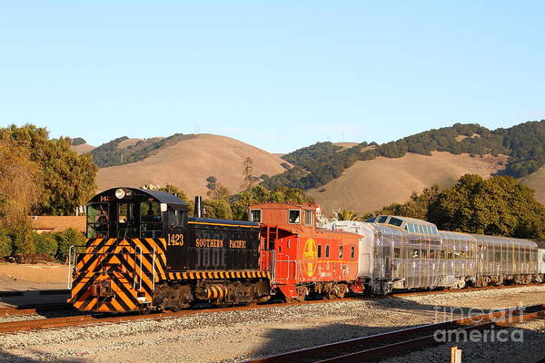 Landscape Print featuring the photograph Historic Niles Trains In California . Old Southern Pacific Locomotive And Sante Fe Caboose . 7d10822 by Wingsdomain Art and Photography