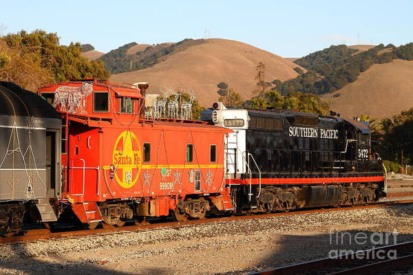 Southern Pacific Art Print featuring the photograph Historic Niles Trains In California . Old Southern Pacific Locomotive And Sante Fe Caboose . 7d10843 by Wingsdomain Art and Photography