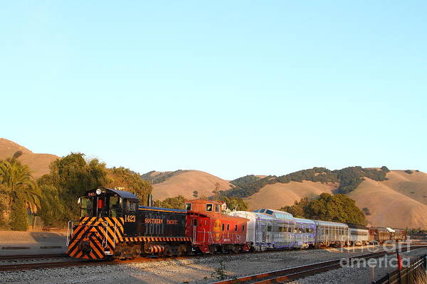 Landscape Art Print featuring the photograph Historic Niles Trains In California . Old Southern Pacific Locomotive And Sante Fe Caboose . 7d10869 by Wingsdomain Art and Photography