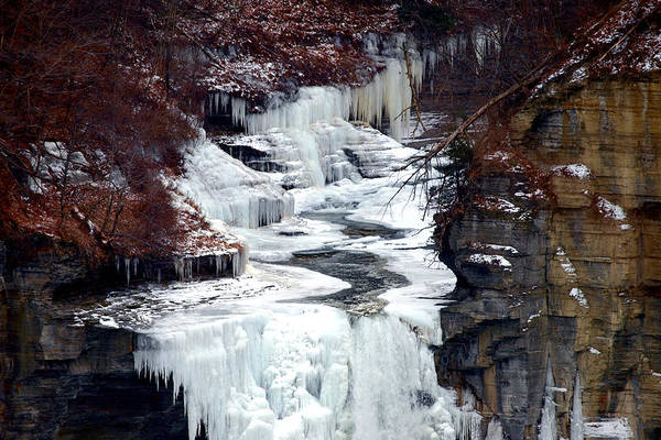 Water Art Print featuring the photograph Icy Waterfalls by Paul Ge