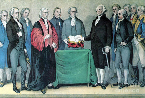 History Print featuring the photograph Inauguration Of George Washington, 1789 by Photo Researchers