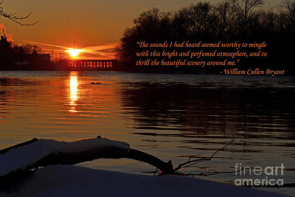 Color Photography Art Print featuring the photograph Inspirational Sunset With Quote by Sue Stefanowicz