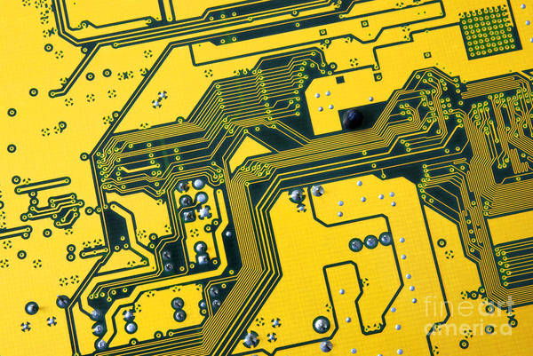 Abstract Art Print featuring the photograph Integrated Circuit by Carlos Caetano