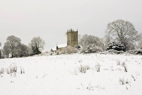 Cathedral Art Print featuring the photograph Ireland Winter Landscape With Church by Peter McCabe