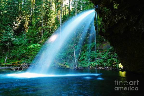 Water. Fall Art Print featuring the photograph Iron Creek Falls From The Side by Jeff Swan