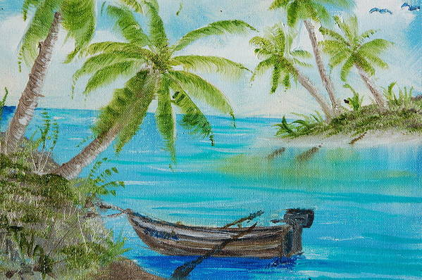 Palm Trees Art Print featuring the painting Island Paridise by Katheryn Napier