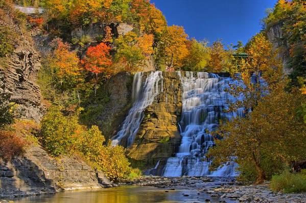 Horizontal Art Print featuring the photograph Ithaca Falls In Autumn by Matt Champlin