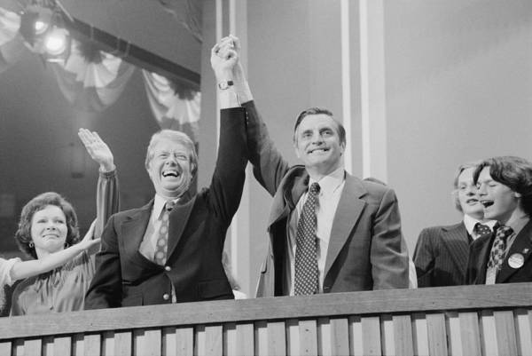 History Art Print featuring the photograph Jimmy Carter And Walter Mondale by Everett