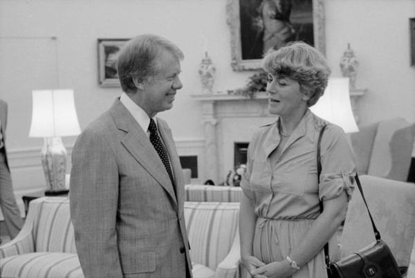 History Art Print featuring the photograph Jimmy Carter With Congresswoman by Everett