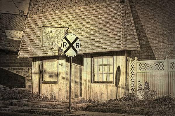 Barber Shop Art Print featuring the photograph John's Barber Shop by Cheryl Cencich