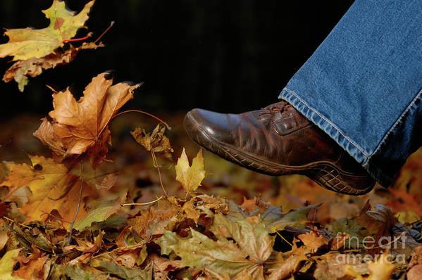 Footwear Art Print featuring the photograph Kicking Fallen Autumn Leaves by Oleksiy Maksymenko