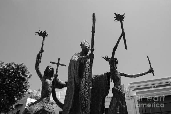 Old San Juan Art Print featuring the photograph La Rogativa Statue Old San Juan Puerto Rico Black And White by Shawn O'Brien