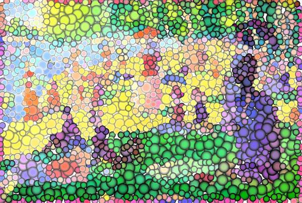Sunday On La Grande Jatte Print featuring the digital art Large Bubbly Sunday On La Grande Jatte by Mark Einhorn