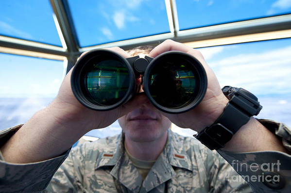 Military Art Print featuring the photograph Lieutenant Uses Binoculars To Scan by Stocktrek Images