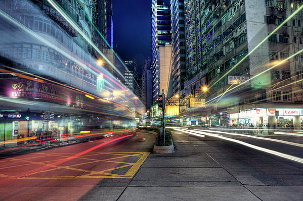 Horizontal Art Print featuring the photograph Light Trails On Street At Night by Thank you for choosing my work.