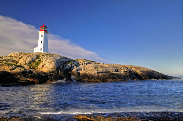 Lighthouse Art Print featuring the photograph Lighthouse At Peggy's Cove by Donna Caplinger