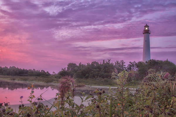 Cape May Point Lighthouse. Cape May Point New Jersey Art Print featuring the photograph Lighthouse Red Dawn by Tom Singleton