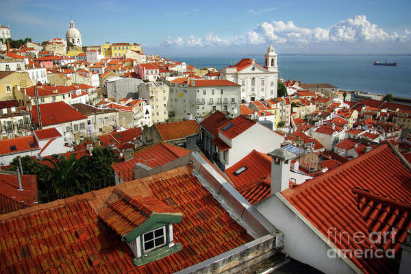 Ancient Art Print featuring the photograph Lisbon Rooftops by Carlos Caetano