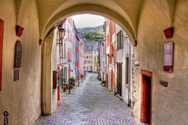 Bernkastel Art Print featuring the photograph Looking Through Graach Gate - Colour by Bill Lindsay