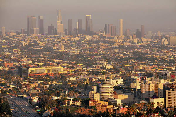 Horizontal Art Print featuring the photograph Los Angeles Skyline by Photo by Seattle Dredge