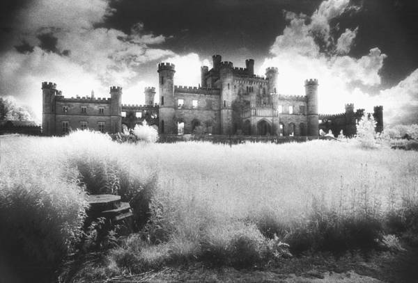 Castellated; Crenellated; Towers; Exterior; Architecture; English; Facade; Gothic; Ghostly; Atmospheric; Striking; Dramatic; Landscape; Eerie; Mysterious; Sinister Art Print featuring the photograph Lowther Castle by Simon Marsden