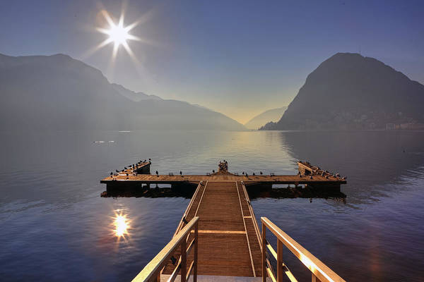 Dock Art Print featuring the photograph Lugano by Joana Kruse