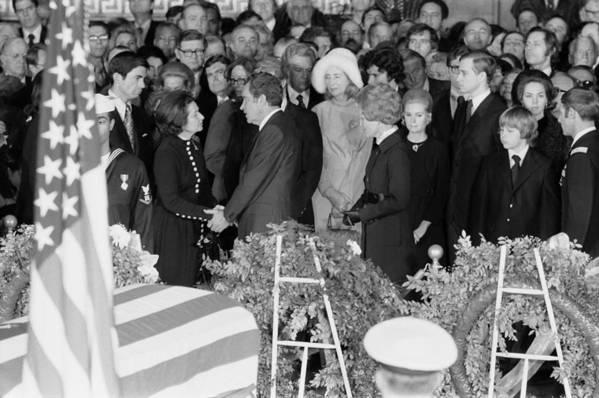 History Art Print featuring the photograph Lyndon Johnson Funeral. President Nixon by Everett