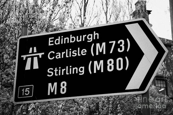 Motorway Art Print featuring the photograph M8 Motorway Sign In Glasgow Scotland Uk by Joe Fox