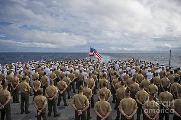 Uss Pearl Harbor Art Print featuring the photograph Marines And Sailors Stand In Formation by Stocktrek Images