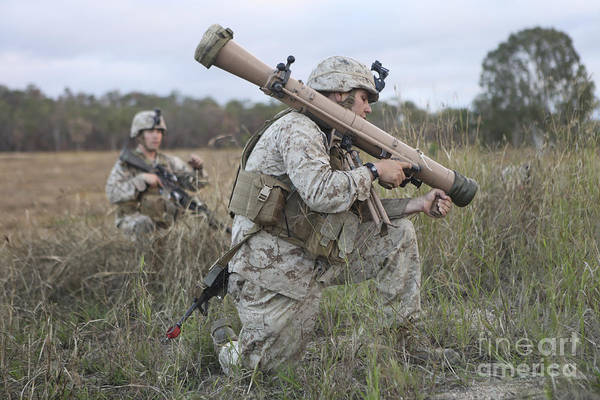 Horizontal Art Print featuring the photograph Marines Conduct A Simulated Attack by Stocktrek Images