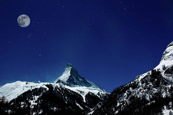 Horizontal Art Print featuring the photograph Matterhorn Switzerland Blue Hour by Maria Swärd
