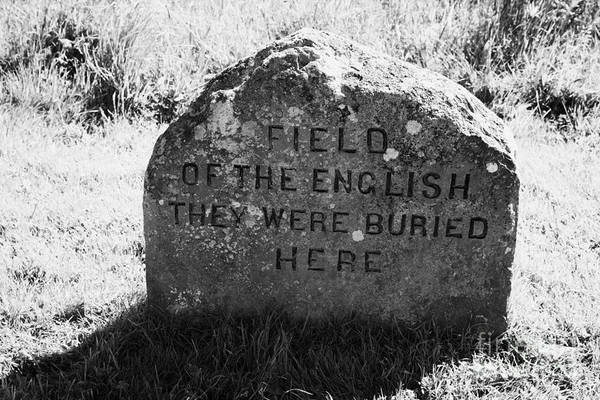 Memorial Art Print featuring the photograph memorial stone for the dead english on Culloden moor battlefield site highlands scotland by Joe Fox
