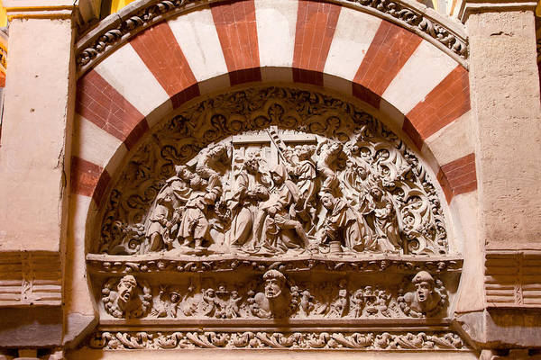 Mezquita Art Print featuring the photograph Mezquita Cathedral Religious Carving by Artur Bogacki