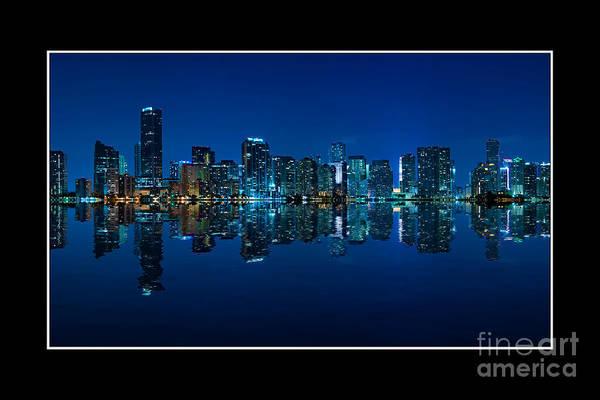 Bay Art Print featuring the photograph Miami Skyline Night Panorama by Carsten Reisinger