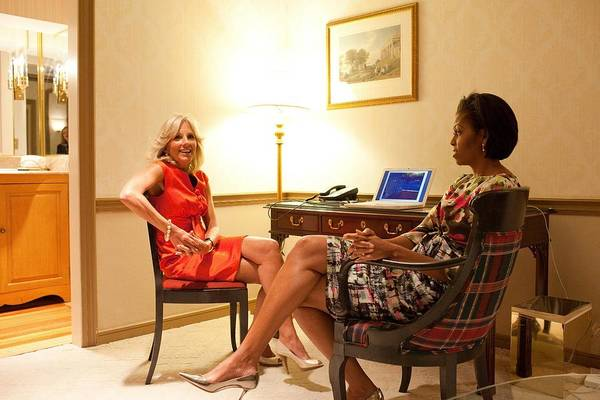 History Art Print featuring the photograph Michelle Obama And Dr. Jill Biden Wait by Everett