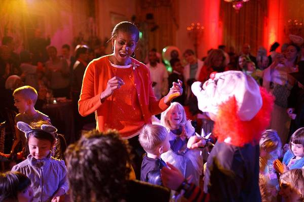History Art Print featuring the photograph Michelle Obama Dancing With Children by Everett